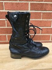 Steve Madden Parto Black Leather Zip Lace Fold Down Combat Boots Women Sz 8 M