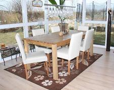 Lot de 6 chaises de séjour Littau, cuir – blanc, pieds clairs