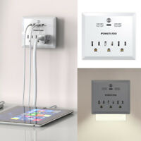 3 Outlet Power Strip Converter Travel Adapter With Dual USB Charging Type-C Port