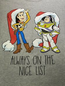 Disney Youth Size 7 Toy Story Buzz Lightyear Woody Always Nice List Graphic Tee