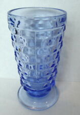 Cubist Indiana Colony Whitehall Tumbler Glass Ice Blue Footed USA Vintage