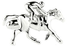 Silver Tone Racehorse Horse and Rider Cufflinks Cuff Links Free Ship