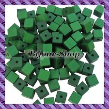 Lot of 50 Beads Cube Wood 10x10mm