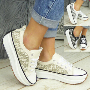 Ladies Womens Trainers Flatform Lace Up Casual Sneakers Platform Comfy New Shoes