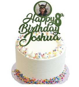 loki Themed Birthday Glitter Cake Topper