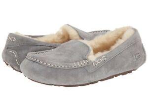 New Women's UGG Gray Ansley Sheepskin Suede Slipper Size 8