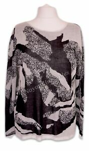 MarlaWynne All Over Jacquard Semi Sheer Box Top Jumper Black/White Size XL NEW