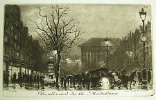 Antique Orig. Miniature Etching by Charles Pinet - Boulevard de la Madeleine