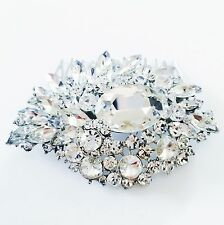 USA Hair Comb Rhinestone Crystal Bridal wedding Vintage Fancy Silver Party 02