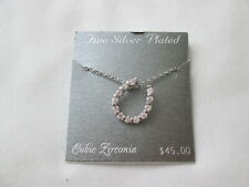 NEW Fine Silver Plated Cubic Zirconia Crystal Horseshoe Charm Pendant Necklace