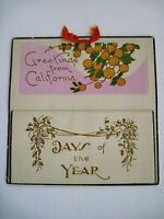 Vintage 1931 Calendar Christmas Greeting Card - California Picture of Oranges *
