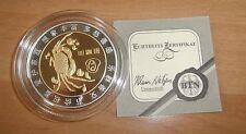 Münze mit Sternbild Krebs, chines. Zeichen, versilbert/vergoldet, BTN 2008, 30 g