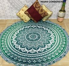 Indian Ombre Mandala Flower Tapestry Rundie Green Cotton Picnic Hippie Wall Art