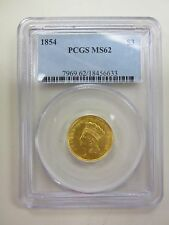 1854 Indian Head Princess $3 Dollar Gold Coin Pcgs Ms62