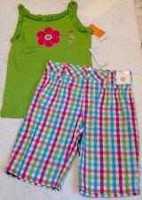 Nwt Gymboree 2pc Outfit Green Top/Pink Flower/Plaid Bermuda Adj Shorts 12