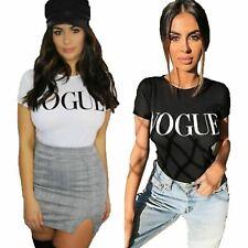 Womens Ladies Short Sleeve Vogue Slogan Printed Fashion Summer T-shirt Tee Tops