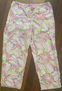 Vera Bradley Pink & Green Sleep Pants Size LG Lightweight Cotton Elastic Desist