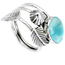 925 STERLING SILVER NATURAL BLUE LARIMAR RING JEWELRY SIZE 6 K51760