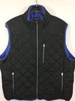Women's Black Vest Jacket Black Full Zip XL QUILTED PRIMALOFT WINDBLOCK EUC