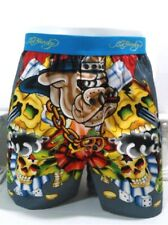 Ed Hardy Men's Woven Boxers Bulldog Hip Hop Vintage Limited Edition Size Large