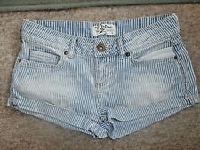 MISS SELFRIDGE Low Waist Distressed Stripe Cotton Denim SHORTS~HOT PANTS~UK 8