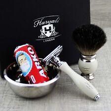 Complete Classic Shaving Set ft Pure Black Badger & DE Safety Men's Grooming Kit