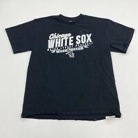 Chicago White Sox MLB Shirt Mens L Black Crew Neck  100% Cotton Casual