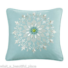 Echo Design Sardinia Decorative Toss Square Pillow Floral Embroidery Bead Stone