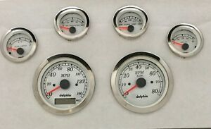DOLPHIN GAUGES 6 GPS STREET ROD GAUGE SET STREET ROD HOT ROD, UNIVERSAL