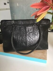 Really Lovely Big Black Leather Tote Bag By Hidesign