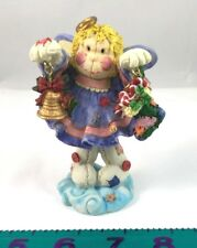 Bobble Angel with Christmas Bell & Stocking dressed in purple & pink & patchwork