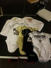 4 Bodysuits & 2 Baby Hooded Bath Wraps, Pittsburgh Pirates, Penguins, & Steelers