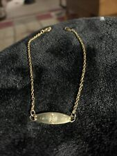 """Anklet. """"engraved With Letter N� Vintage Yellow GolD Engraved Id"""