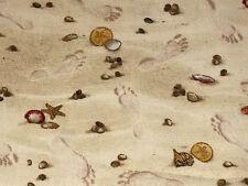 Fabric Beach Sand Shells Footprints Real Simple on Cotton by Elizabeth 1/4 yard