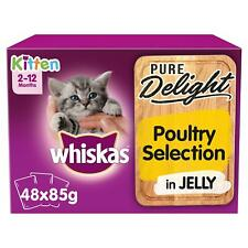More details for 48 x 85g whiskas pure delight 2-12 mos kitten food pouches mixed poultry jelly