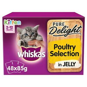 48 x 85g Whiskas Pure Delight 2-12 mos Kitten Food Pouches Mixed Poultry Jelly