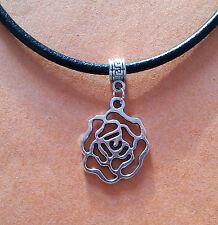 Nero, in pelle collana girocollo con argento fiore rosa Ciondolo - Nuova -
