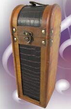 Weinkoffer Holz Leder H.35x12cm Vintage Designer Gast Geschenk ein wenig Luxus