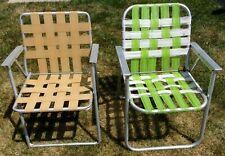 New listing Pair Vtg Aluminum Folding Webbed Lawn Chair Multicolored beach lounge