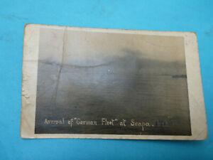 WW1 Postcard Arrival of German Fleet Scapa Scarpa Flow 1918 battle real photo