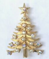 "Mylu Christmas Tree Pin vintage AB Rhinestones Faux Pearls Gold Tone 2"" Tall"
