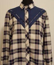 Womens Vintage Kenny Rogers Navy Blue Plaid Western Bib Pearl Snap Shirt