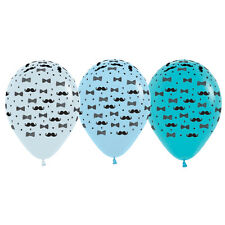Moustaches and Bow Ties Fashion Blue Balloons 6pk Baby Shower 1st Birthday Party