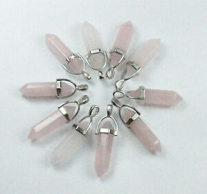 Ten Pink Pillar pendants Natural Rose Quartz bulk jewellery making crafts