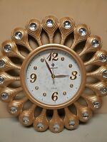 "AHUA Vintage Retro Gold Flower Design Decorative Wall Clock, 17"" DEFECT CRACK"