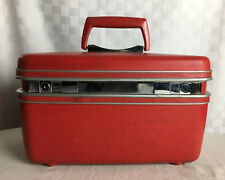 Vintage Samsonite Silhouette Red Train Case Make-Up Beauty Suitcase