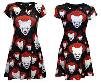 Creepy Scary Blood Killer Clown Halloween Bat Collar Dress Flare Alternative