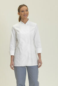 Dennys Chef Jacket - Ladies Fit - White Sizes XS-L Short or Long Sleeves