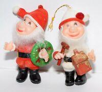 Two Christmas Pixie Elves Santa's Helper Ornament Made In Hong Kong