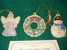 Lenox Sugar Cookie Ornament Set Nib with Coa - Angel, Wreath and Snowman